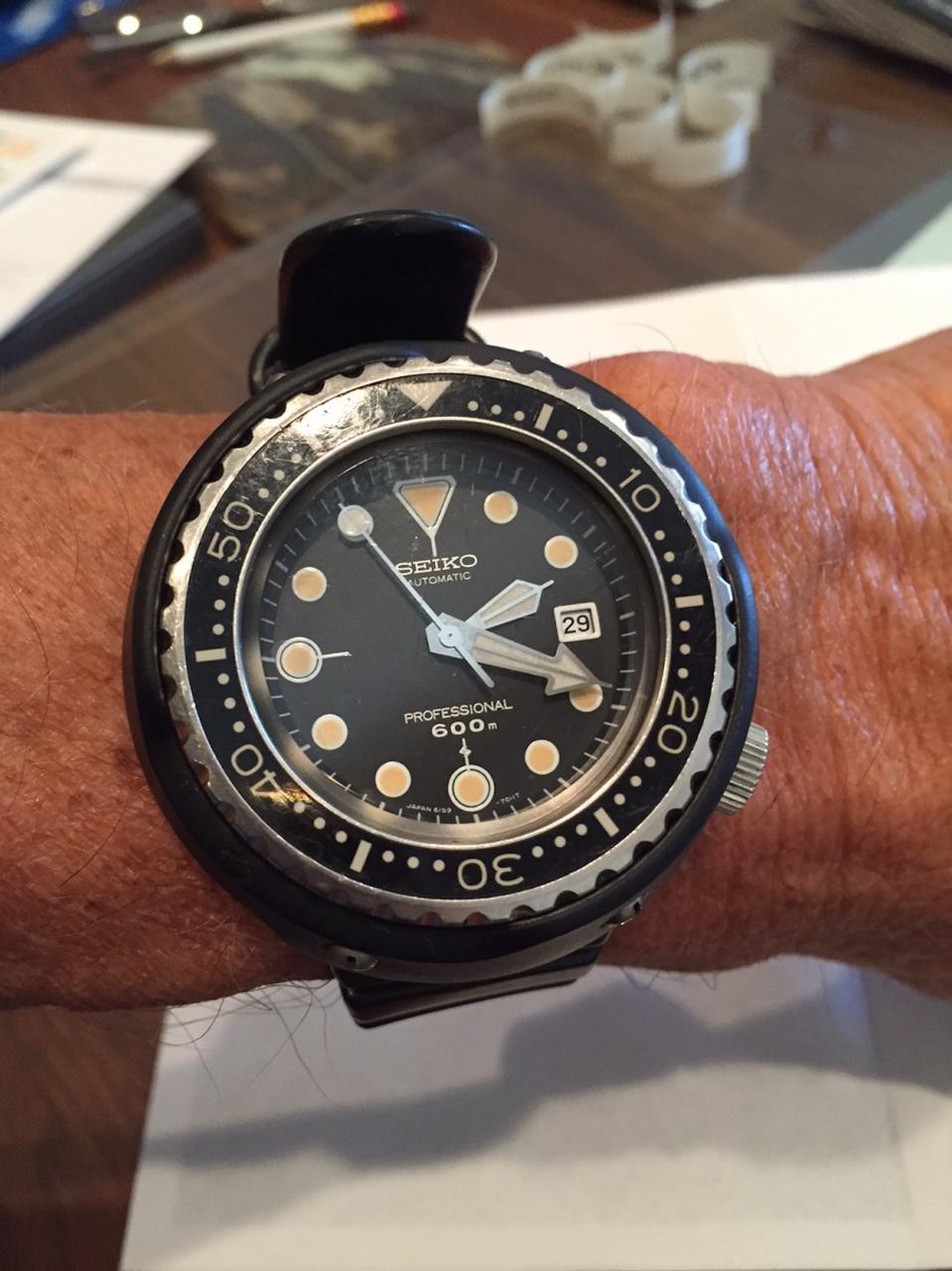 Seiko 6159 Tuna on the wrist