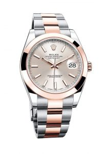 Stainless steel and Everose gold make the Datejust 41 look very stylish.